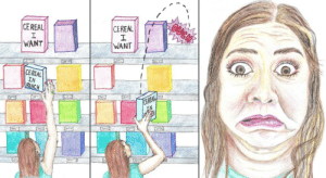 One day when I was trying to knock down cereal from the top shelf of the grocery store I accidentally hit someone on the other side of the aisle. [OC]: OUGN  CEREAL  CEREAL  WANT  WANT  CEREAL  IN  REACH  CEREAL  IN  G22 One day when I was trying to knock down cereal from the top shelf of the grocery store I accidentally hit someone on the other side of the aisle. [OC]