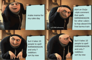 Meme, Ouija, and Reddit: Ouija-  start an  -style comment  that spells  make meme for  KARMAWAGON  my cake day  for other cakers  to hop aboard the  free karma train  u/EUNEisAmeme  but it takes 10  but it takes 10  people to spell  people to spell  KARMAWAGON  KARMAWAGON  and only 7  and only 7  redditors  redditors  sort by new  sort by new Ill just have one of em regular wagons chief