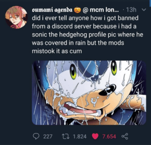 Sonic the Hedgehog: oumami agenda O @ mcm lon... · 13h  did i ever tell anyone how i got banned  from a discord server because i had a  sonic the hedgehog profile pic where he  was covered in rain but the mods  mistook it as cum  27 1.824  227  7.654