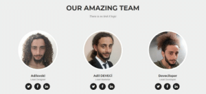 Logic, Amazing, and Lead: OUR AMAZING TEAM  There is no limit if logic  Adilovski  Lead Designer  Adil DEVECİ  Lead Marketer  Deveciloper  Lead Developer  in  in  in When youre a full-stack developer but still want to credit everyone