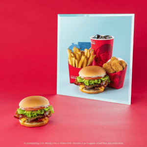 Dank, Wendys, and Giant: OUR  At participating U.S. Wendy's for a limited time. Includes 4 pc nuggets, small fries and small drink. More gianter, more bacony-er, more cheeseburger...um.. er. The GIANT Jr. Bacon Cheeseburger is worthy of the name. Get it now with nuggets, fries and a drink for just $5.