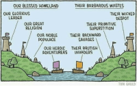 History 101 via /r/funny https://ift.tt/2SKUzVE: OUR BLESSED HOMELAND  THEIR BARBAROUS WASTES  OUR GLORIOUS  LEADER  THEIR WICKED  DESPOT  OUR GREAT  RELIGION  THEIR PRIMITIVE  SUPERSTITION  OUR NOBLE  POPULACE  THEIR BACKWARD  SAVAGES !  OUR HEROIC THEIR BRUTISH  ADVENTURERS INVADERS  sin  TOM GAULD History 101 via /r/funny https://ift.tt/2SKUzVE