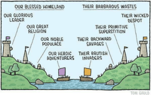 #the enemy: OUR BLESSED HOMELAND  THEIR BARBARUS WASTES  OUR GLORIOUS  LEADER  THEIR WICKED  DESPOT  OUR GREAT  RELIGION  THEIR PRIMITIVE  SUPERSTITION  THEIR BACKWARD  SAVAGES  OUR NOBLE  POPULACE  THEIR BRUTISH  INVADERS  OUR HEROIC  ADVENTURERS  TOM GAULD #the enemy