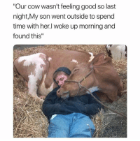 "Funny, Good, and Time: ""Our cow wasn't feeling good so last  night,My son went outside to spend  time with her.l woke up morning and  found this"" Sweet"