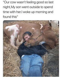 """Good, Heart, and Time: Our cow wasn't feeling good so last  night,My son went outside to spend  time with her.l woke up morning and  found this"""" Seeing this warms my heart."""