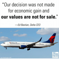 "Friday, Guns, and Memes: ""Our decision was not made  for economic gain and  our values are not for sale.""  -Ed Bastian, Delta CEO  소DELTA  '  .  FOX  NEWS  chonno  Larry MacDougal via AP) After @Delta withstood swift political retribution in its home state of Georgia for cutting ties with the @nationalrifleassociation, the airline's chief executive insisted Friday ""we are not taking sides"" in the national debate over guns."