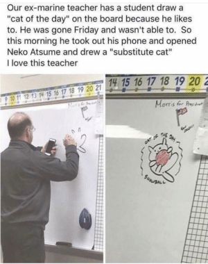 """Friday, Love, and Phone: Our ex-marine teacher has a student draw a  """"cat of the day"""" on the board because he likes  to. He was gone Friday and wasn't able to. So  this morning he took out his phone and opened  Neko Atsume and drew a """"substitute cat""""  I love this teacher  18 19 20  Morris fr Pret  15 1  爫67 2  017 18 19 20 21  9 10 1 2 13 1H 15 16 17 18 19 20 21 that's a very good looking cat"""