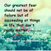Life, Love, and Memes: Our greatest fear  should not be of  failure but of  succeeding at things  in life that don't  eally matter  Francis Chan  ind Recipese www.mindrecipes.com <3 I love this!!
