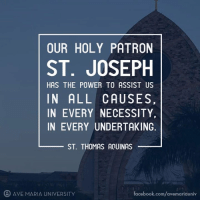 patronizing: OUR HOLY PATRON  ST. JOSEPH  HAS THE POWER TO ASSIST US  IN ALL CAUSES  IN EVERY NECESSITY  IN EVERY UNDERTAKING  ST THOMAS AQUINAS  AVE MARIA UNIVERSITY  Facebook.com/avemariauniv