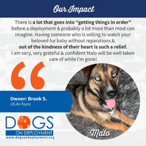 """Animals, Dogs, and Love: Our Impact  There is a lot that goes into """"getting things in order""""  before a deployment & probably a lot more than most can  imagine. Having someone who is willing to watch your  beloved fur baby without reparations &  out of the kindness of their heart is such a relief.  T am very, very grateful & confident Malo will be well taken  care of while I'm gone!  Owner: Brook S.  US Air Force  DOGS  ON DEPLOYMENT  www.dogsondeployment.org Brook, United States Air Force, recently shared with us her testimonial after finding a #DoDBoarder with Sarah, who will watch her #dog Malo during her #deployment.   """"I just want to take the time to say THANK YOU to the organization Dogs on Deployment who helped me find someone to watch my pup while on military orders! It is a nonprofit that has volunteers nationwide who willingly foster animals of veterans while they are on military duty. I know I have posted on social media the past couple of months, stressing about what I'm going to do with Malo while I'm gone.. & after getting approved with a quick turn around time and messaging local volunteers, I found a great couple who is willing to watch him for the next few months. There is a lot that goes into """"getting things in order"""" before a deployment & probably a lot more than most can imagine.. but having someone who is willing to watch your beloved fur baby without reparations & out of the kindness of their heart is such a relief. I am very very grateful & confident he will be well taken care of while I'm gone!""""  We love this! Support military pets at www.dogsondeployment.org"""