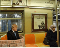 Donald Trump seen riding the subway in NYC after his win. Way to manspread!: our inn  THE  o  renes me Donald Trump seen riding the subway in NYC after his win. Way to manspread!