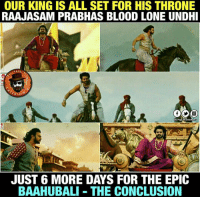 Saahore Baahubali Promo released !! https://youtu.be/Z1Nrw0SV9aY: OUR KING IS ALL SET FOR HIS THRONE  RAAJASAM PRABHAS BLOOD LONE UNDHI  JUST 6 MORE DAYS FOR THE EPIC  BAAHUBALI THE CONCLUSION Saahore Baahubali Promo released !! https://youtu.be/Z1Nrw0SV9aY