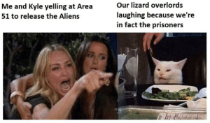 Be Like, Aliens, and Dank Memes: Our lizard overlords  Me and Kyle yelling at Area  laughing because we're  in fact the prisoners  51 to release the Aliens September 20th gunna be like