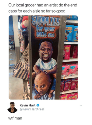 Kevin Hart, Ups, and Wtf: Our local grocer had an artist do the end  caps for each aisle so far so good  SUAPLITES  27-3  16  Tor your  Little one  FUPS  PROTECTION  Pults  2T-3T  25  2T-3r  Pampers  mpers  asy  ups  easy  sdn  GoodNite  GoodNites  40%  dNites  40%  R22200  TRUSTE  pulFUps EoM  pulf-Ups  Kevin Hart  @KevinHart4real  wtf man  I-Ups 3T-4T Bromance