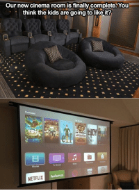 Yay or Nay? 😍🙏🏡: Our new cinema room is finally complete. You  think the kids are going to like it?  huluPLUS  NETFLIX Yay or Nay? 😍🙏🏡