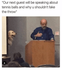 "our next guest will be talking about tennis balls and why you shouldn't fake the throw. Dog speaker, teaches class: ""Our next guest will be speaking about  tennis balls and why u shouldn't fake  the throw""  Shitheadsteve our next guest will be talking about tennis balls and why you shouldn't fake the throw. Dog speaker, teaches class"