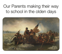 Parents, Reddit, and School: Our Parents making their way  to school in the olden days Our Parents had it rough