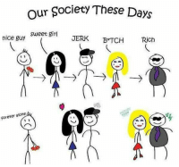 nice guy: our Society These Days  Sweet girl  nice guy  JERK  BATCH  Rich  forever alone  CO