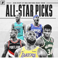 Basketball, Nba, and Sports: OUR STAFF OF NBA WRITERS MAKE THEIR  HORNETS  PERS  BiOFREEZE  PORTLA  34  uish  AKERS Link in bio for ASG lineup prediction. What's your starting line up for the east and west? 🤔 Sponsored via @TheScore