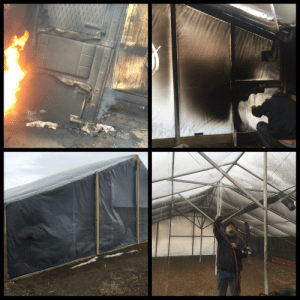 Our waste oil heater caught fire last night and almost FUBAR'd our aquaponic greenhouse we're building.: Our waste oil heater caught fire last night and almost FUBAR'd our aquaponic greenhouse we're building.
