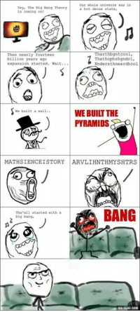 Every time when I watch The Big Bang Theory... http://9gag.com/gag/aoZvKPx?ref=fbp: our whole universe was in  Yey, The Big Bang Theory  a hot dense state,  is coming on!  Tharthbgntcool,  Then nearly fourteen  billion years ago  Thathophshgndrl,  expansion started  Wait  Nndersthneardhool.  We built a vall  WE BUILT THE  PYRAMIDS  MATHSIENCEISTORY ARVLIHNTHMYSHTRS  BANG  Tha all started with a  big bang  VIA9GAG.COM Every time when I watch The Big Bang Theory... http://9gag.com/gag/aoZvKPx?ref=fbp