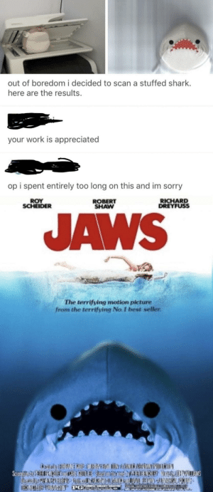 Dank, Memes, and Sorry: out of boredom i decided to scan a stuffed shark.  here are the results.  your work is appreciated  op i spent entirely too long on this and im sorry  ROY  SCHEIDER  ROBERT  SHAW  RICHARD  DREYFUSS  AWS  The terrifying motion picture  from the terrifying No. I best seller Baby shark theme intensifies by fathobbits98 MORE MEMES