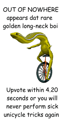 Sick, Never, and 4 20: OUT OF NOWHERE  appears dat rare  golden long-neck boi  Upvote within 4.20  seconds or you will  never perform sick  unicycle tricks again <p>The rarest of dat bois</p>