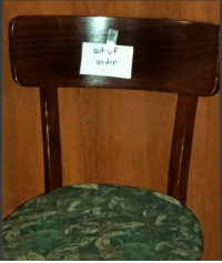out of  order Tucked in the corner of a Thai restaurant, I found my throne.