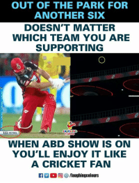 #IPL #RCBvCSK #ABD: OUT OF THE PARK FOR  ANOTHER SIX  DOESN'T MATTER  WHICH TEAM YOU ARE  SUPPORTING  LAUGHING  111 METRES  WHEN ABD SHOW IS ON  YOU'LL ENJOY IT LIKE  A CRICKET FAN  (回參/laughingcolours #IPL #RCBvCSK #ABD