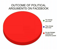 political: OUTCOME OF POLITICAL  ARGUMENTS ON FACEBOOK  You change  your mind  They change  their mind  No one changes  anything and  everyone's pissed