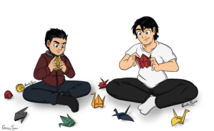 outoftheframework:  geekyllama:Commissioned by @outoftheframework ! Tim and Damian are just folding paper cranes together :) this cleared my skin and gave me good grades: outoftheframework:  geekyllama:Commissioned by @outoftheframework ! Tim and Damian are just folding paper cranes together :) this cleared my skin and gave me good grades