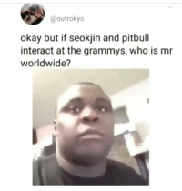 Grammys, Pitbull, and Okay: @outrokyo  okay but if seokjin and pitbull  interact at the grammys, who is mr  worldwide?
