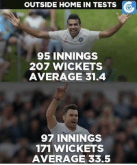 Zaheer Khan has a better overseas record when compared to James Anderson.: OUTSIDE HOME IN TESTS  95 INNINGS  207 WICKETS  AVERAGE 31.4  97 INNINGS  171 WICKETS  AVERAGE 33.5 Zaheer Khan has a better overseas record when compared to James Anderson.