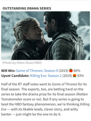 Rotten tomatoes we're doing predictions for who will win the Emmys this year...: OUTSTANDING DRAMA SERIES  (Photo by Helen Sloan/HBO)  Will Win: Game of Thrones: Season 8 (2019)  60%  Upset Candidate: Killing Eve: Season 2 (2019)  93%  Half of the RT staff votes went to Game of Thrones for its  final season. The experts, too, are betting hard on the  series to take the drama prize for its final season (Rotten  Tomatometer score or no). But if any series is going to  beat the HBO fantasy phenomenon, we're thinking Killing  Eve with its likable leads, clever story, and witty  banter - just might be the one to do it. Rotten tomatoes we're doing predictions for who will win the Emmys this year...