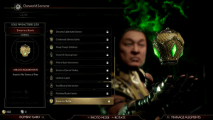 colorfulphoenix:  Can we get an f for my boi ermac ?  F: Outworld Sorcerer  GEAR  SOUL PHYLACTERIES 2/30  Ermac in a Bottle  Decanted Lightrealm Essence  NORMAL  5Condensed Edenian Spirits  Shang Tsung's Lifeblood  Vessel of Glowing Souls  Phial of Spirit Sustenance  UNLOCK REQUIREMENTS  Extract of Eternal Vitality  Found in The Towers of Time  Lifeforce Carafe  Soul Blood of the Secrists  XPBOOST  Purloined Kytinn Spirits  DITAUGMENTS  Ermac in a Bottle  EQUIP SO| PHYLACTERY  100  0  KOMBAT KARD L2  R2 MANAGE AUGMENTS  R3 PHOTO MODER ROTATE colorfulphoenix:  Can we get an f for my boi ermac ?  F