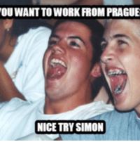 nice try: OUWANT TO WORK ROM PRAGUE  NICE TRY SIMON