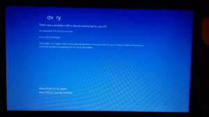 Connected, Laptop, and Code: Ov ry  There was a problem with a device connected to your PC  An unexpected 1/O error has occurred.  Error code: 0xc00000e9  This problem can happen when a removable storage device is removed while it's in use or is failing. Properly connecting any  removable storage and restarting your PC may fix this problem.  Press Enter to try again  Press F8 for Startup Settings I was just trying to fix my laptop and this happens