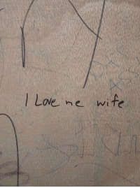 """Graffiti, Http, and Via: ove ne wite <p>This graffiti in the men&rsquo;s room at the pub via /r/wholesomememes <a href=""""http://ift.tt/2Aloknb"""">http://ift.tt/2Aloknb</a></p>"""