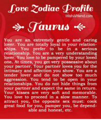 Food, Love, and Relationships: ove Zodiac Profile  WishAFriend.com  You are an extremely gentle and caring  lover. You are totally loyal in your relation-  ships. You prefer to be  in a serious  relationship. You are a very understanding  r. You love to be pampered by your loved  one. At times, you get very possessive about  your partner. Your partner loves you for the  intimacy and affection you show. You are a  tender lover and do not show too much  aggression. You tend to be open in your  relationships. You do not hide things from  your partner and expect the same in return.  Your kisses are very soft and memorable.  You love to proceed in a slow manner. To  attract you, the opposite sex must: cook  great food for you, per you, be depend-  able and honest, etc. #TAURUS ♉