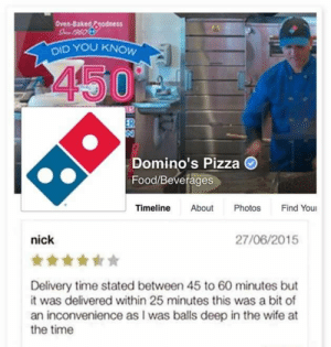 Baked, Food, and Pizza: Oven-Baked Fgodness  DID YOU  450  Domino's Pizza O  Food/Beverages  Timeline About Photos Find You  nick  27/06/2015  Delivery time stated between 45 to 60 minutes but  it was delivered within 25 minutes this was a bit of  an inconvenience as I was balls deep in the wife at  the time