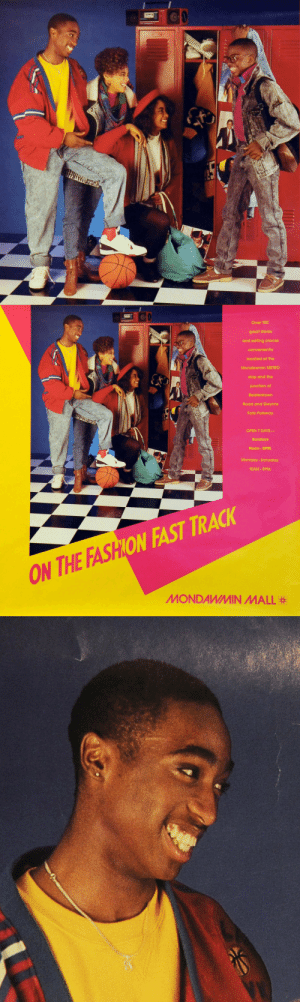 twixnmix:  Tupac and Jada Pinkett Smith in   an ad for Mondawmin Mall in Baltimore, 1987.: Over 100  great stores  and eating places  conveniently  located at the  Mondawmin METRO  stop and the  junction of  Reisterstown  Road and Gwynns  Falls Parkway  OPEN 7 DAYS-  Sundays  Noon-5PM.  Monday-Saturday  10AM-9PM:  ON FAST TRACK  ON THE FASH  MONDAWMIN MALL twixnmix:  Tupac and Jada Pinkett Smith in   an ad for Mondawmin Mall in Baltimore, 1987.