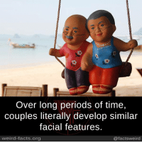 Facts, Memes, and Weird: Over long periods of time,  couples literally develop similar  facial features.  weird-facts.org  @factsweird