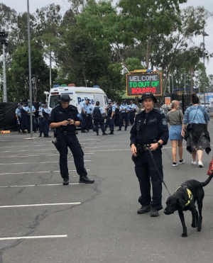 Over the top police presence at music festival in Sydney, Australia: Over the top police presence at music festival in Sydney, Australia