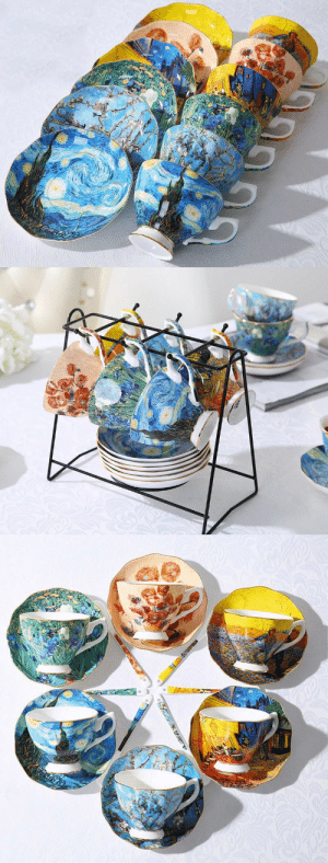 overanalyzinglifesince1992: livelaughlovematters:  Beautiful and Unique Van Gogh Art Tea Cup Set Masterpiece. Each set is made with the finest materials enforced with porcelain to enhance the durability so you won't have to worry about chips or cracks! The tea cup, saucer and spoon are lightweight yet durable and dishwasher safe so you won't have to worry about the art wearing off. => AVAILABLE HERE <=    😍 : overanalyzinglifesince1992: livelaughlovematters:  Beautiful and Unique Van Gogh Art Tea Cup Set Masterpiece. Each set is made with the finest materials enforced with porcelain to enhance the durability so you won't have to worry about chips or cracks! The tea cup, saucer and spoon are lightweight yet durable and dishwasher safe so you won't have to worry about the art wearing off. => AVAILABLE HERE <=    😍