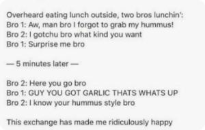 True, Happy, and Hummus: Overheard eating lunch outside, two bros lunchin'  Bro 1: Aw, man bro I forgot to grab my hummus!  Bro 2: I gotchu bro what kind you want  Bro 1: Surprise me bro  -5 minutes later  Bro 2: Here you go bro  Bro 1: GUY YOU GOT GARLIC THATS WHATS UP  Bro 2: I know your hummus style bro  This exchange has made me ridiculously happy true bromance via /r/wholesomememes https://ift.tt/30CfrSW