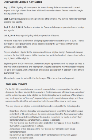 "Apparently, News, and Tumblr: Overwatch League Key Dates  Aug. 1, 2018: Signing window opens for teams to negotiate extensions with current  players or to sign players from their affiliated Contenders team. Teams may also begin  making player trades  Sept. 9, 2018: Inaugural-season agreements officially end. Any players not under contract  become free agents.  Sept. 9-0ct. 7, 2018: Exclusive window for Overwatch League expansion teams to sign  free agents.  Oct. 8, 2018: Free-agent signing window opens for all teams.  All teams must have a minimum of eight players under contract by Dec. 1,2018. Teams  may sign or trade players until a final deadline during the 2019 season that will be  announced at a later date.  Players who turn 18 prior to the season deadline are eligible to sign Overwatch League  contracts for the 2019 season. While the date has yet to be finalized, players born before  May 1, 2001, will be eligible.  Beginning with the 2019 season, the term of player agreements will no longer be fixed at  one year with an additional one-year option. Players and teams may negotiate contracts  for up to three years, with a maximum of one year as an option in addition to one or two  guaranteed years  All contracts must be submitted to the League Office for review and approval.   Two-Way Players  For the 2019 Overwatch League season, teams and players may negotiate the right to  designate the player as eligible to compete in Contenders on an affiliated team. Any player  on the roster may agree to be eligible for Contenders play, but a maximum of four players  may be designated as ""two-way"" players during each Overwatch League stage, and those  players must be identified and submitted to the League Office prior to each stage.  Two way players are eligible to compete in Contenders, subject o the ollowing ules  Regardless of where they play, two-way players count toward the Overwatch League  roster limit of 12 and must earn the same salary and benefits. Two-way players also  will count towards the eight-player Contenders roster limit for weeks in which their  Contenders team designates them as eligible to compete.  Two-way players lose their Contenders eligibility if they appear in more than two  Overwatch League matches in a stage.  A maximum of two designated two-way players may compete in any single  Contenders match.  No player will be eligible to appear in both Contenders and Overwatch League  matches in the same week. snill0: Interesting article just came out about the player rosters for OWL 2019 Important thing to note is that they're pushing the minimum rosters to 8 players, obviously expansion teams should be coming into the season with more than that based off how this inaugural season went (players facing burnout, mayhem's 6 roster performance, etc). Also, players are able to negotiate contract lengths, this is super important to giving players more power since we don't have a union yet and after finding out about the Mayhem players' contracts+salary vs contenders players (long story short they're rumored to be payed less than their contenders roster who are apparently the inactive spitfire players because they're locked for potentially 2 yrs) it shows there's some poor management going on. Free agency could be spicy too depending on how many people get cut after their inaugural season performance. As much as I hate to admit it there's obviously some players that have fallen off, but some still have the potential and under a new team with capable players I think we can see some make a comeback. As many have said, these players are OWL caliber in terms of mechanics but it's about the teamplay and whether their style works well. 2 Way players is another thing I'm eye'ing because letting people who are OWL level play in contenders (or vice versa) could throw some big curveballs in terms of strategies. I'm also wondering if it's going to be used often, maybe as a way to get those benched players still playing competitive matches once in awhile."