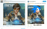 """OH FUCK, BLIZZARDS GETTING A TASTE OF WEBBERS WRATH LMFAO: Overwatch  Play overwatch Gotta go fast Tracer is a time-umping adventurer and an irrepressible force for  good IblizzlyTracer  DAMAGE  MOBI  SURVIVABILITY  t 583  Sonic the Hedgehog  @Play Overwatch  did someone say """"Gotta Go  Fast""""?  Sonic  a go fast  1403  1.010  1159pm 2 May 2015  ta OH FUCK, BLIZZARDS GETTING A TASTE OF WEBBERS WRATH LMFAO"""