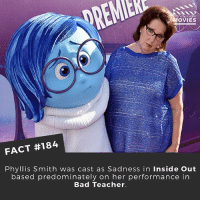 Do you think they'll make an Inside Out 2? . . . . . All credit to the respective film and producers. movie movies film tv camera cinema fact didyouknow moviefacts cinematography screenplay director actor actress act acting movienight cinemas watchingmovies hollywood bollywood didyouknowmovies: OVIES  FACT #184  Phyllis Smith was cast as Sadness in Inside Out  based predominately on her performance in  Bad Teacher. Do you think they'll make an Inside Out 2? . . . . . All credit to the respective film and producers. movie movies film tv camera cinema fact didyouknow moviefacts cinematography screenplay director actor actress act acting movienight cinemas watchingmovies hollywood bollywood didyouknowmovies