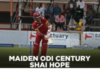 Memes, Actuary, and 🤖: ow  Actuary  insu  ACHILI  ACHILLEON  MAIDEN ODI CENTURY  SHAI HOPE Shai Hope departs after scoring his maiden ODI century. West Indies still need 38 runs in 32 balls to win.