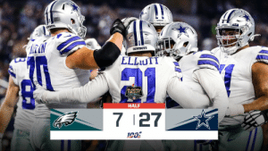 HALFTIME:  #FlyEaglesFly 7 #DallasCowboys 27  📺: #PHIvsDAL on NBC 📱: NFL app // Yahoo Sports app Watch free on mobile: https://t.co/YZGAVQuAGU https://t.co/nXMXFZHgie: OWBOTS  COWBOYS  ELLUTT  SUNDAY  NICHT  FOOTBALL  HALF  7 27 HALFTIME:  #FlyEaglesFly 7 #DallasCowboys 27  📺: #PHIvsDAL on NBC 📱: NFL app // Yahoo Sports app Watch free on mobile: https://t.co/YZGAVQuAGU https://t.co/nXMXFZHgie